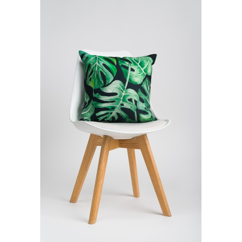 Throw pillow Monstera black