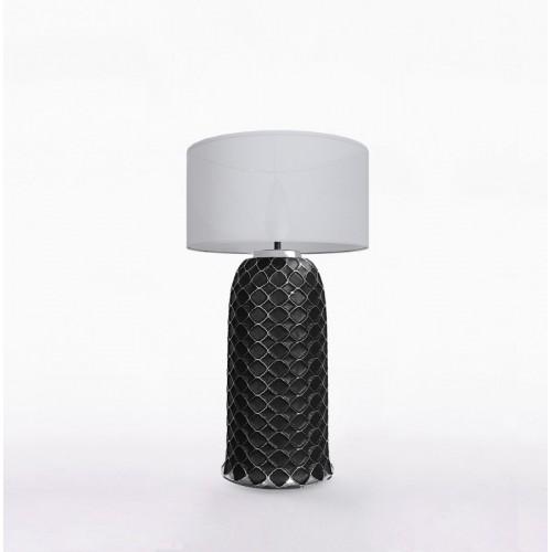 Настольный керамический светильник CERAMIKA DESIGN AJUR 3D VS3 black & silver