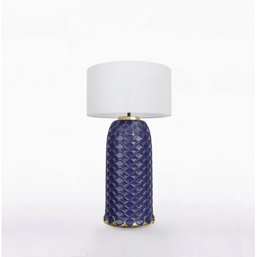 Настольный керамический светильник CERAMIKA DESIGN AJUR 3D VS3 sapphire & gold