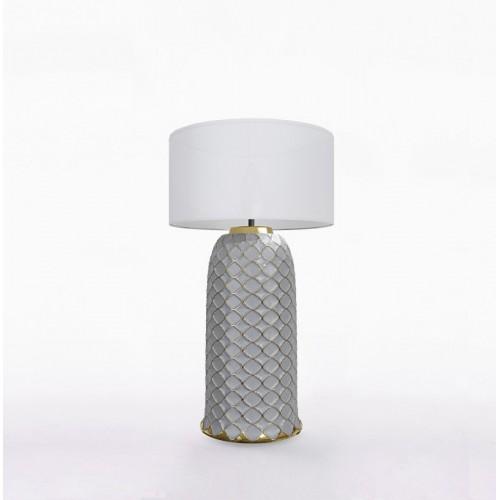 Настольный керамический светильник CERAMIKA DESIGN AJUR 3D VS3 gray & gold