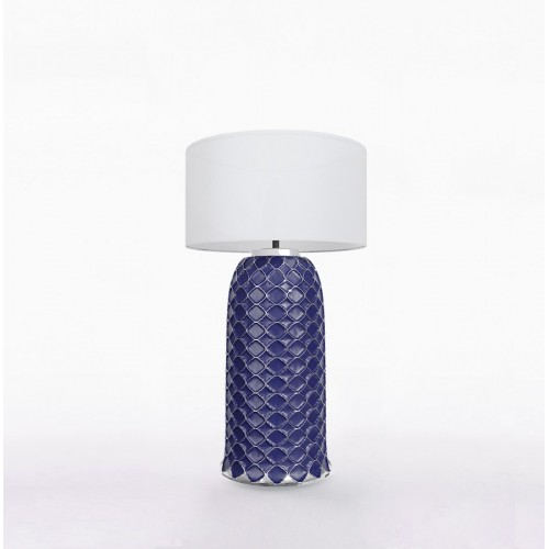 Настольный керамический светильник CERAMIKA DESIGN AJUR 3D VS3 sapphire & silver