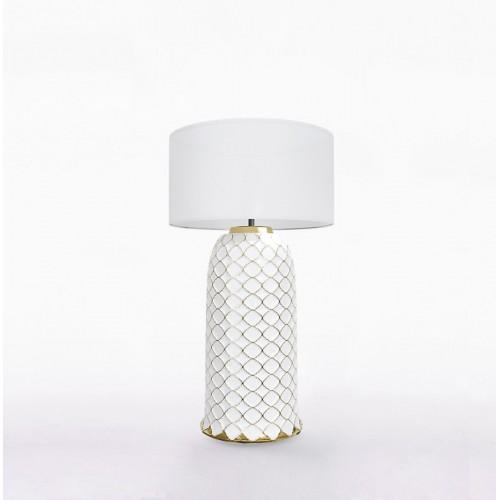 Настольный керамический светильник CERAMIKA DESIGN AJUR 3D VS3 white & gold