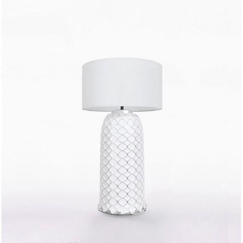 Настольный керамический светильник CERAMIKA DESIGN AJUR 3D VS3 white & silver