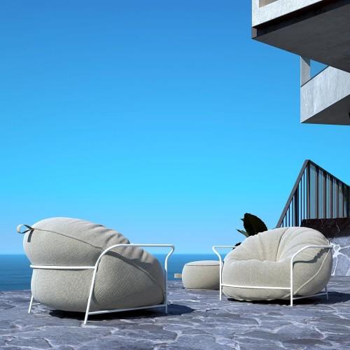 Уличное кресло с пуфом для ног UNI