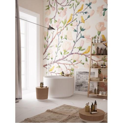 """Дизайнерские обои """" Магнолии"""" / wallpaper bathroom"""