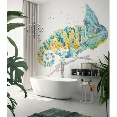 """Дизайнерские обои """"Акварельный хамелеон"""" / wallpaper bathroom"""